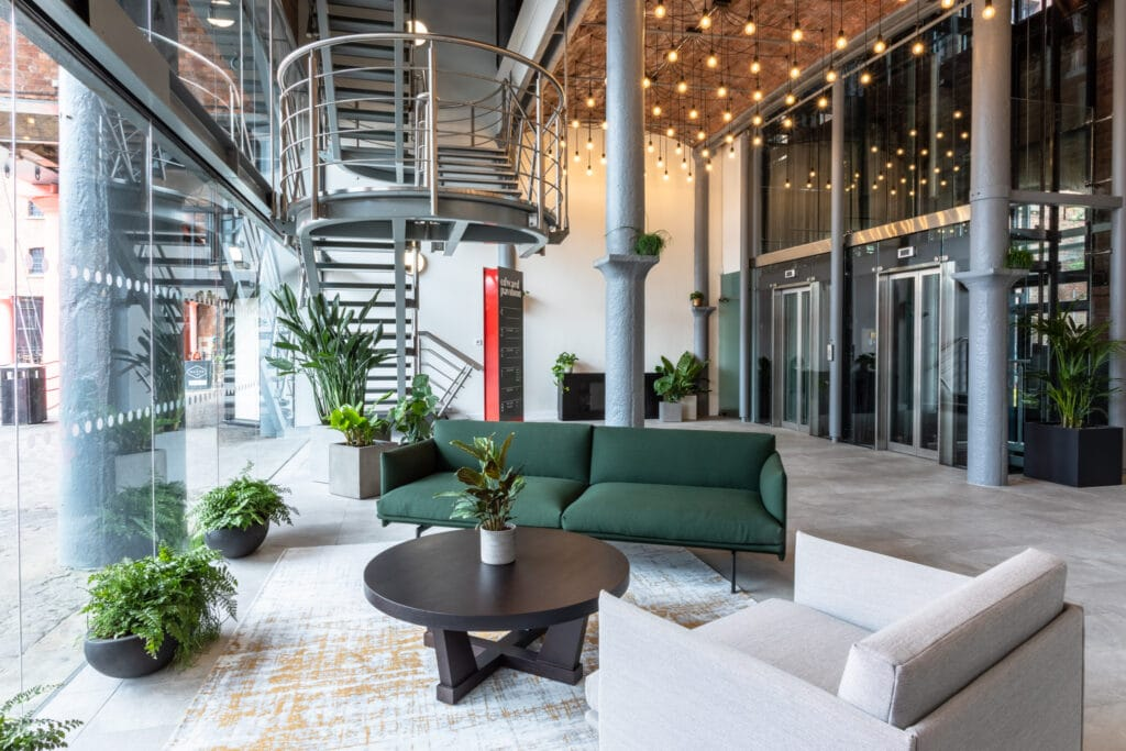 Acadia Group marketing agency ground floor reception area at the Royal Albert Dock in Liverpool
